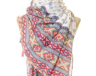 Bohemian Scarf | Blue Elephant Infinity Scarf | Boho Scarf | Summer Scarf | Hijab Scarf | Hippie Scarf | Oriental Elephant Scarf S-243