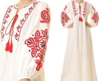 Vyshyvanka Dress | Embroidered Dress | Long Boho Dress | Boho Maxi Dress Long Sleeve | White Linen Dress  Peasant Dress Ukrainian Dress 6417