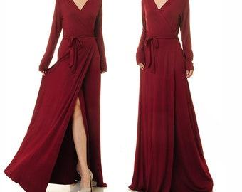 629d1b388dd01 Burgundy Wrap Dress