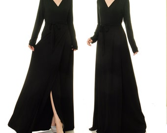 becddb4420f Black Wrap Dress Long Sleeve
