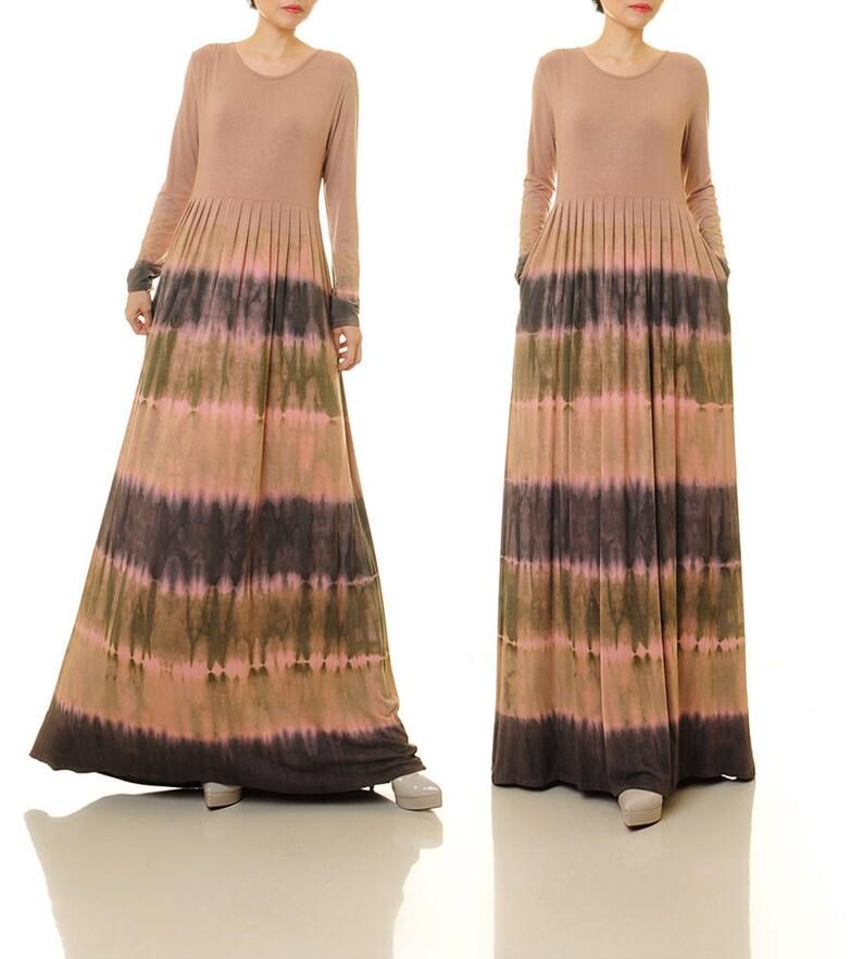 Tie Dye Dress Long Sleeve Boho Maxi Dress Festival Dress | Etsy