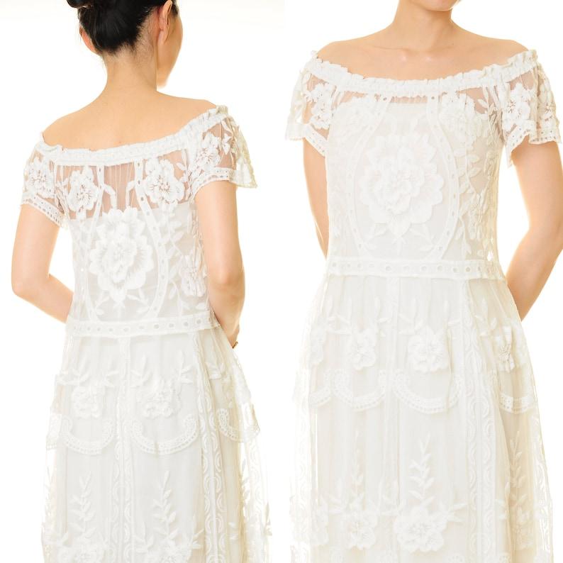 Tea Length Beach Wedding Dress Off Shoulder Lace Dress Petite Size Bohemian White Lace Dress Summer Boho Party Dress XSS 6624