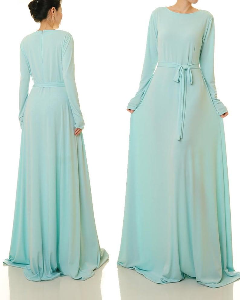 Lange blaue Kleid Pulver blau Maxi Kleid Swing Kleid Abaya ...