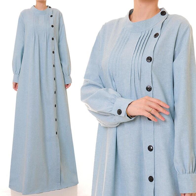 54af88f4b1 Abaya Maxi Dress Long Sleeve Shirtdress Blue Dress Long   Etsy