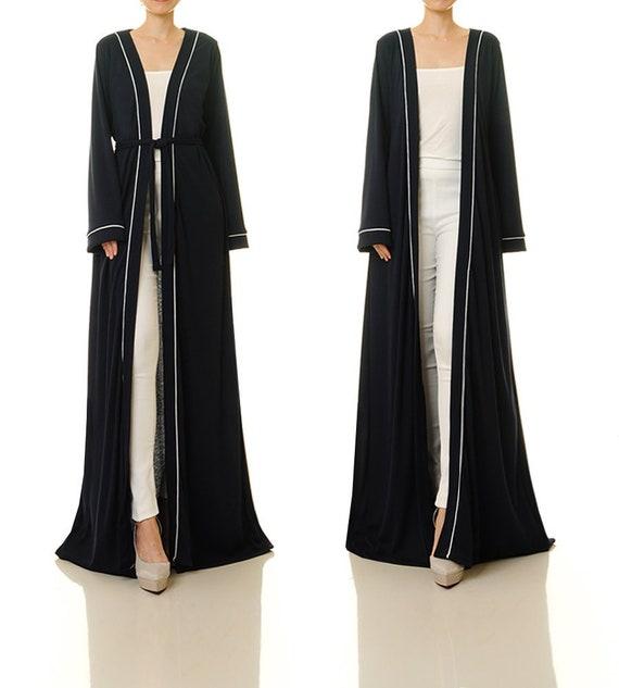 Navy Kimono Coat Floor Length Cardigan Jacket Duster Coat  08ed866a8