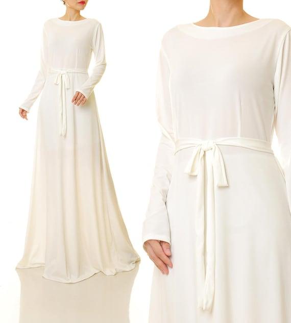 size 40 07dae 7ce42 Maxi-Kleid weiß | Langen weißen Kleid | Weißes Kleid Langarm | Cremige  weiße Abaya Maxi Kleid | Lässig Brautkleid | Weiße Swing Kleid 6433