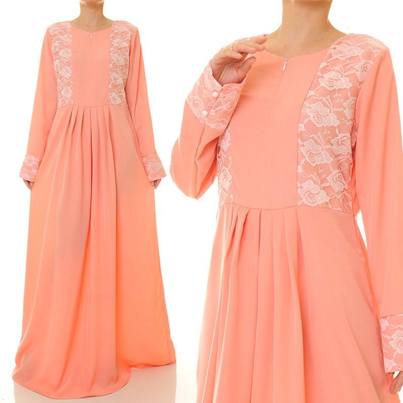 6c4486a69753 Peach Dress Peach Maxi Dress Summer Abaya Maxi Dress Long   Etsy