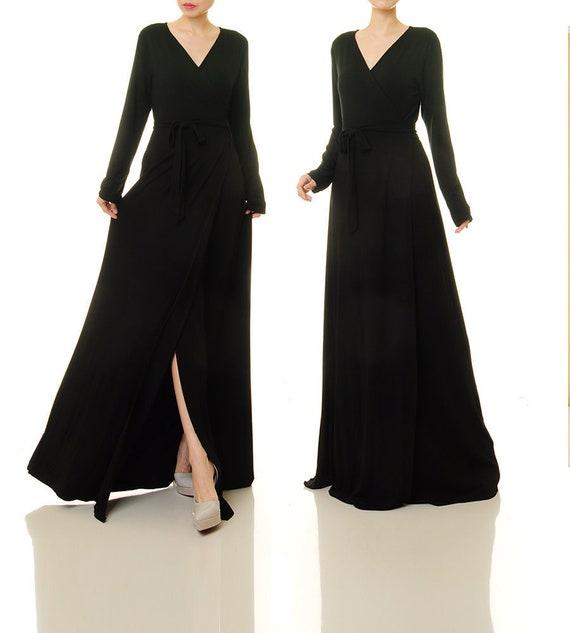 a9201a6309d8 Black Wrap Dress Long Sleeve Wrap Dress Black Black | Etsy