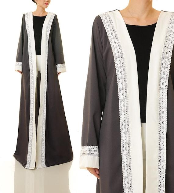 Grey Kimono Cardigan Maxi Cardigan | Long Sleeve Cardigan Abaya Dress | Long Duster Cardigan | Duster Jacket Kimono Robe | Duster Coat 6393
