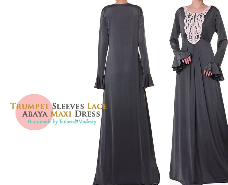 9ed1607bba5 Grey Abaya Maxi Dress Long Sleeve Jersey Abaya Long Sleeve