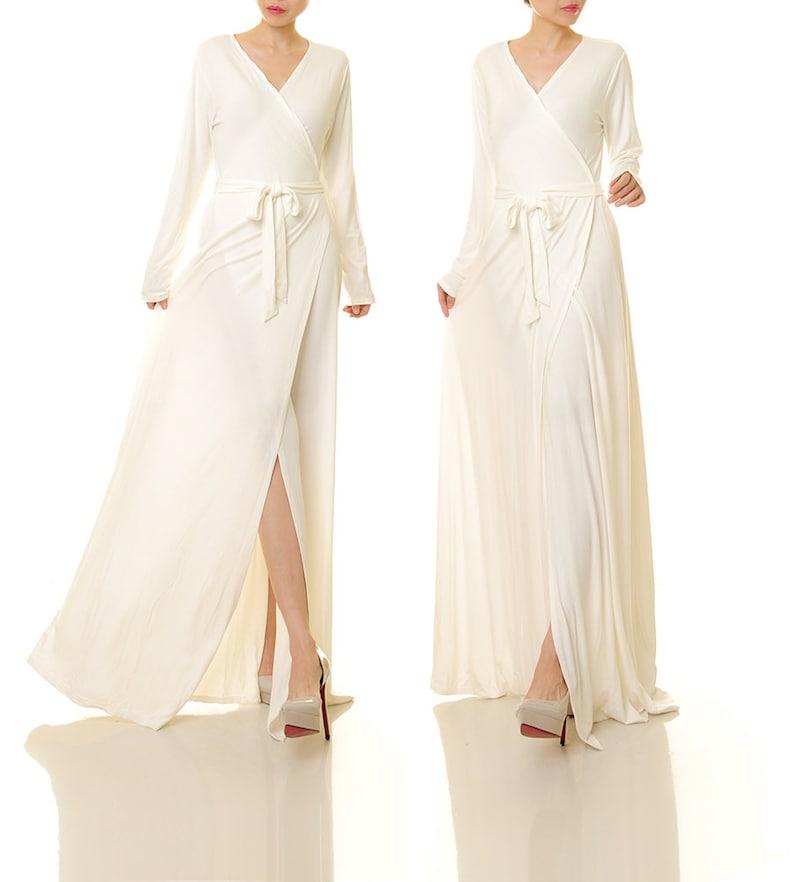 Wrap Dress Long Sleeve White Wrap Maxi Dress White | Etsy