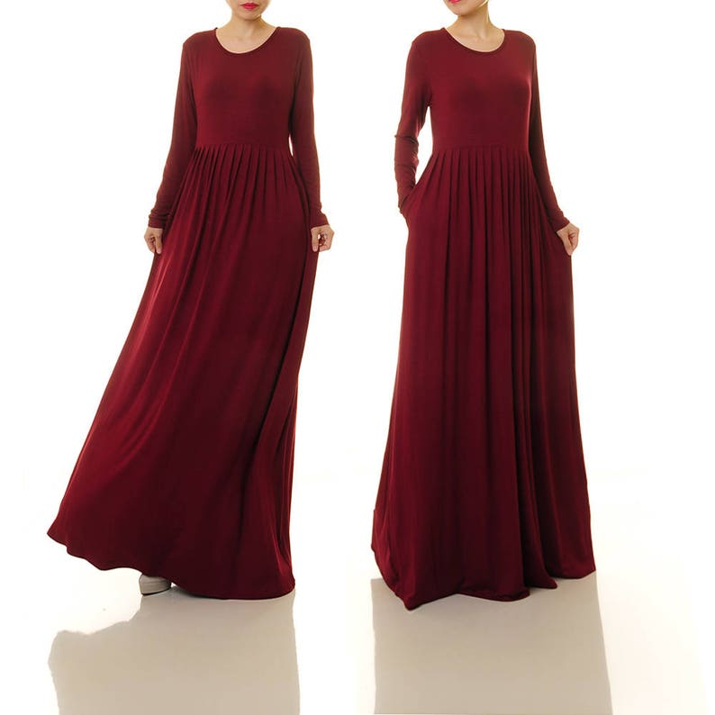7ed87c27ecefd Long Burgundy Dress Burgundy Maxi Dress Long Sleeve Red | Etsy