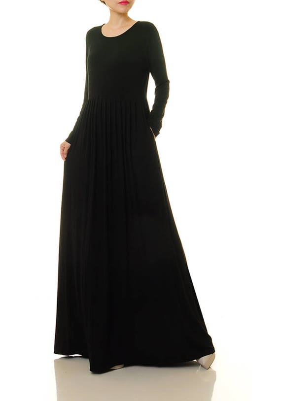Long Black Dress Long Sleeve Black Maxi Dress Knit Dress Etsy