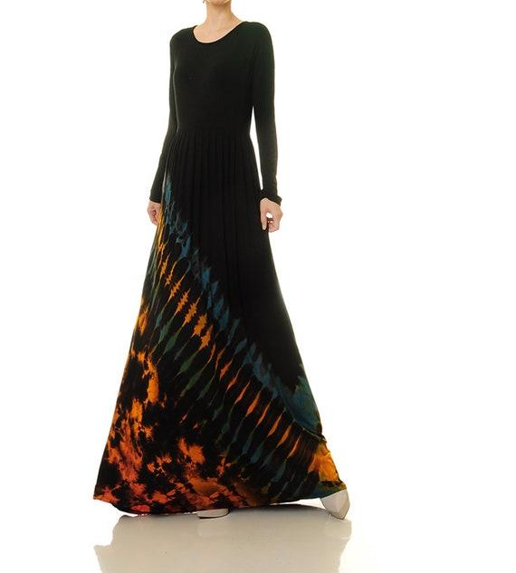 Black Tie Dye Dress Long Sleeve Black Boho Dress Tie Dye Etsy