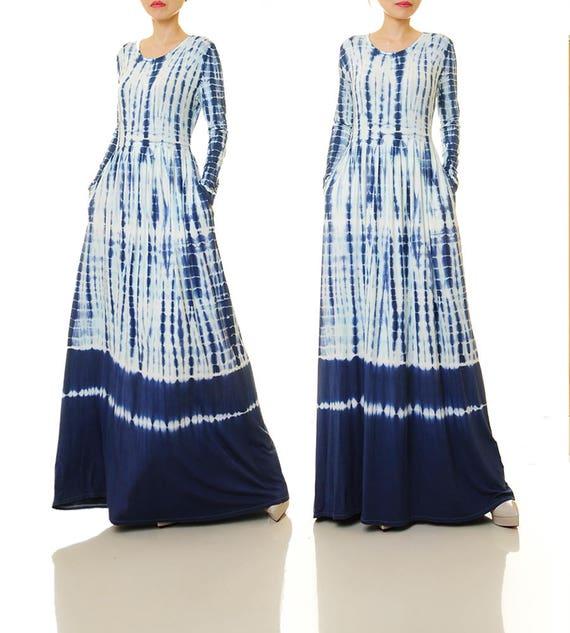Shibori Dress | Tie Dye Dress Plus Size | Indigo Dress With Sleeves | Long  Sleeve Dress Tie Dye Maxi Dress Boho | Bohemian Dress 6497