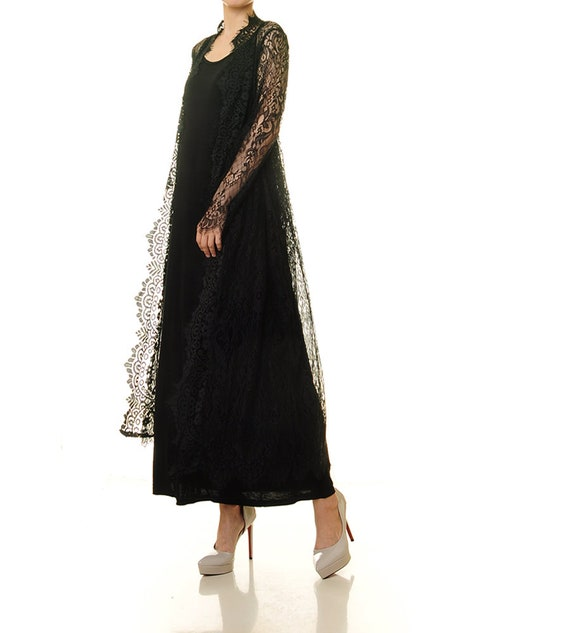 Black Lace Robe Black Lace Dress Black Lace Wedding Dress Kimono Lace Robe Beach Cover Up Black Boudoir Lingerie Petite Xss 8203