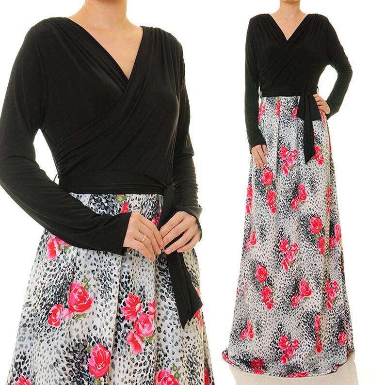 Long Sleeve Maxi Dress Plus Size Floral Abaya Maxi Dress | Etsy
