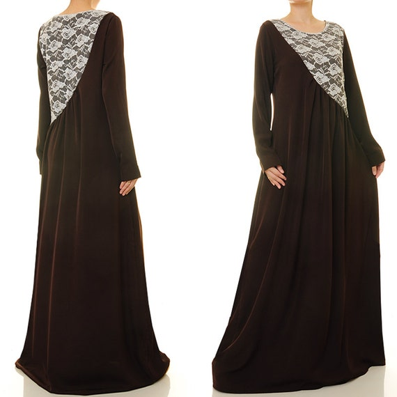 7cf80b588f70f Brown Maxi Dress Brown Abaya Maxi Dress Long Sleeve | Etsy