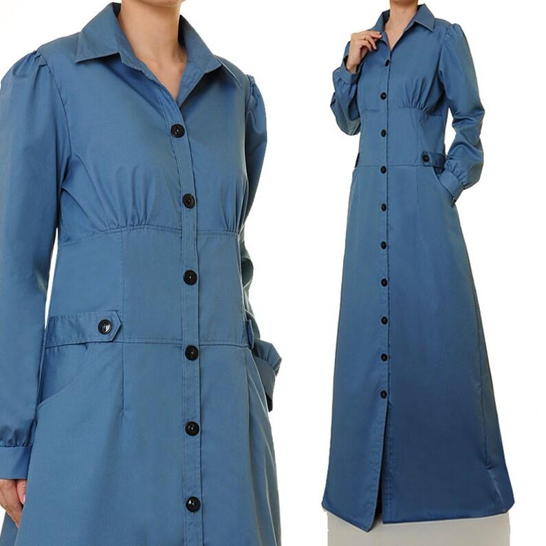 f874be823e Blue Shirtdress Abaya Maxi Dress Shirt Dress Long Sleeve   Etsy