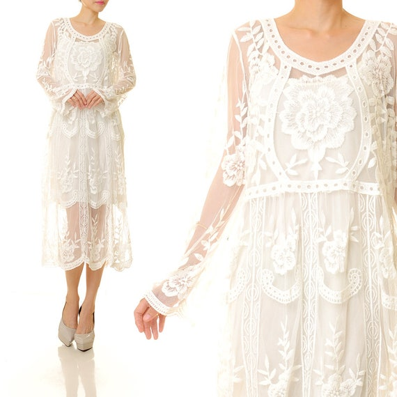 niedrigster Rabatt ziemlich cool Shop für Beamte Boho Kleid | Boho Spitze weiß | Spitze Brautkleid | Weißes langes Kleid  Spitze | Weiße Spitze-Maxi-Kleid | Spitze Boho lang Kleid S/M 8189