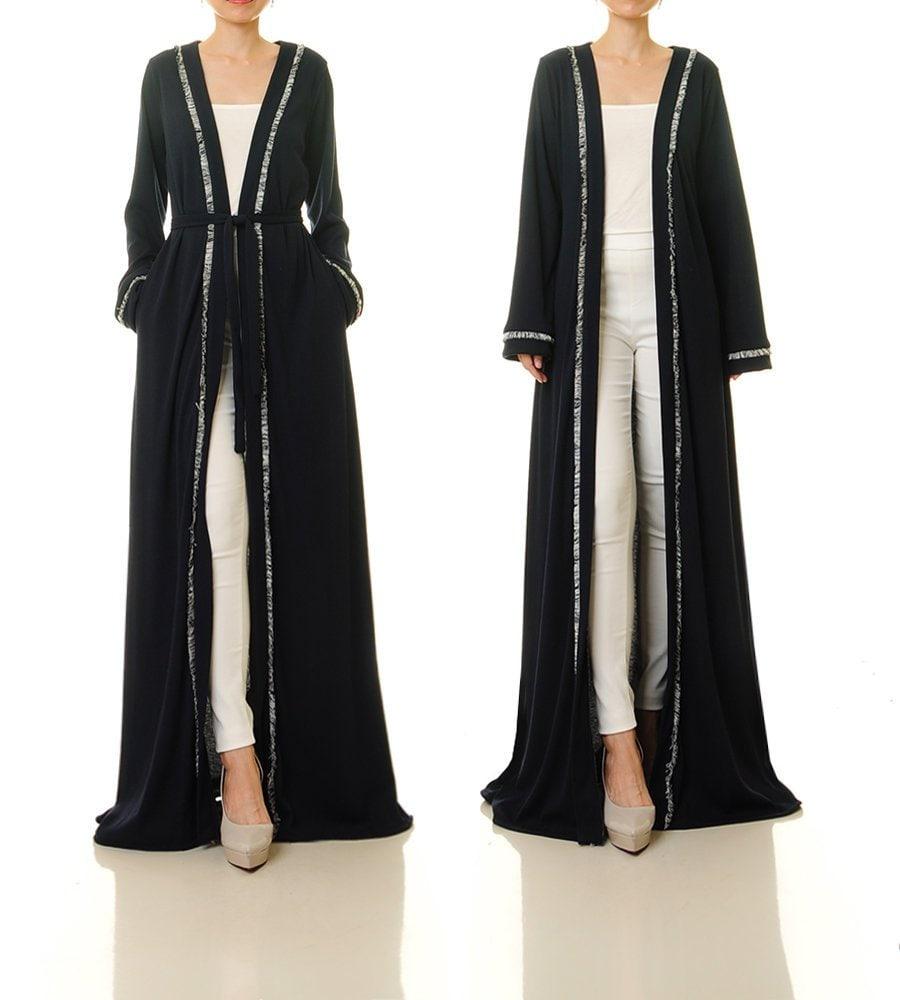 Abaya Kimono Robe Floor Length Cardigan Jacket Navy Duster