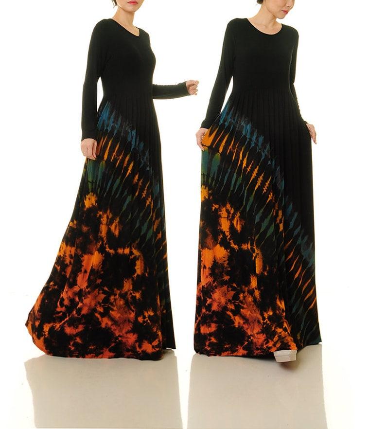 49715aaa1b75a Black Tie Dye Dress Long Sleeve Black Boho Dress Tie Dye | Etsy