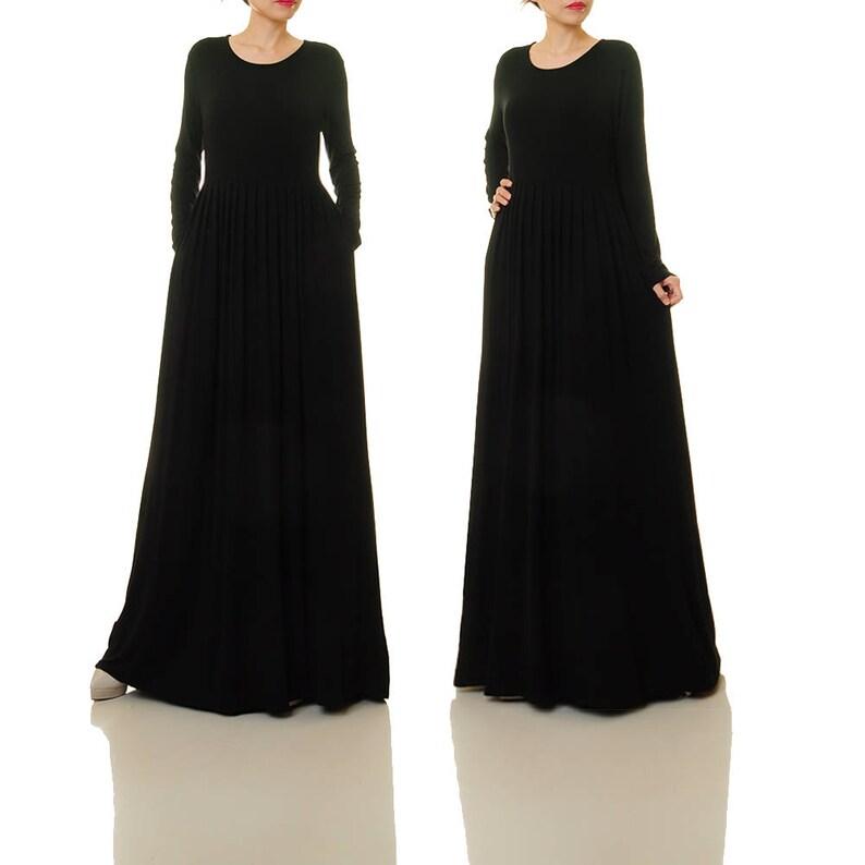 515f45b4d64565 Lange zwarte jurk lange mouw Zwarte Maxi jurk Gebreide