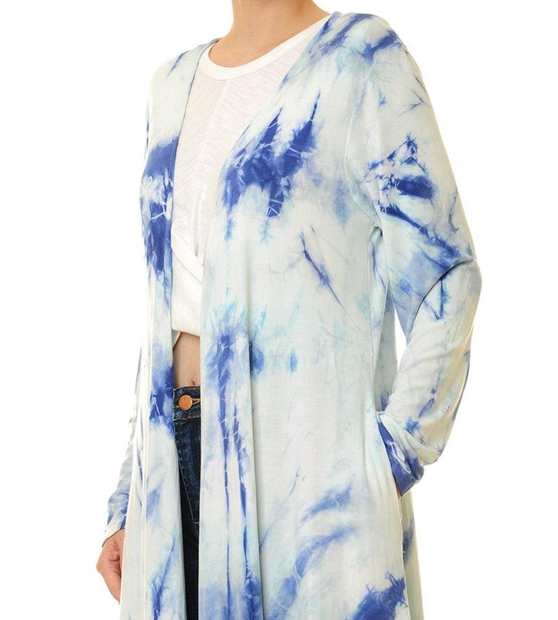 Shibori Kimono Jacket 6539 Boho Cardigan Tie Dye Duster Cardigan Shibori Robe Tie Dye Waterfall Cardigan Shibori Cardigan Long Sleeve