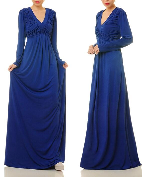 Royal Blue Maxi Dress | Royal Blue Abaya Maxi Dress | Long Sleeve Maxi Dress | Long Sleeve Maternity Dress | Jersey Dress 63722056
