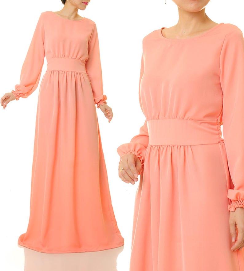 1c8266346795 Long Peach Dress Long Sleeve Dress Abaya Maxi Dress   Etsy
