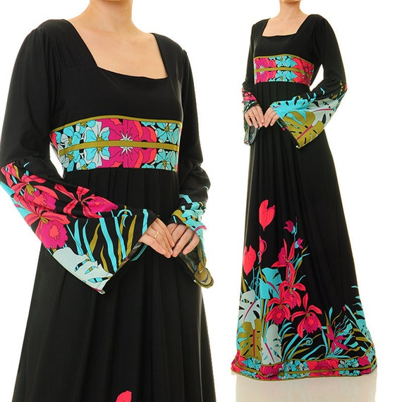 3e72e1afc8 Boho Maxi Dress Black Abaya Dress Long Sleeve Boho Dress | Etsy