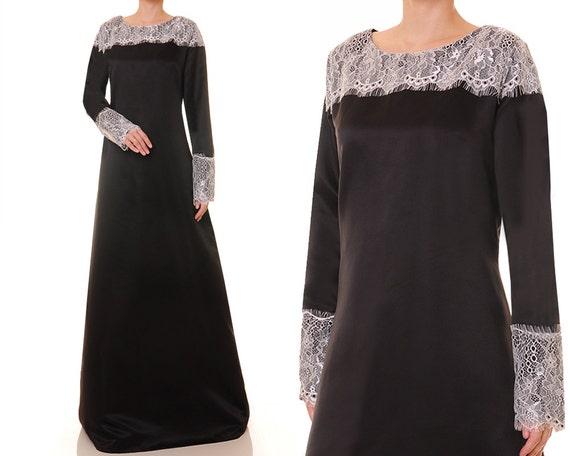 Black Abaya Long Sleeve Evening Dress Black Satin Gown   Etsy
