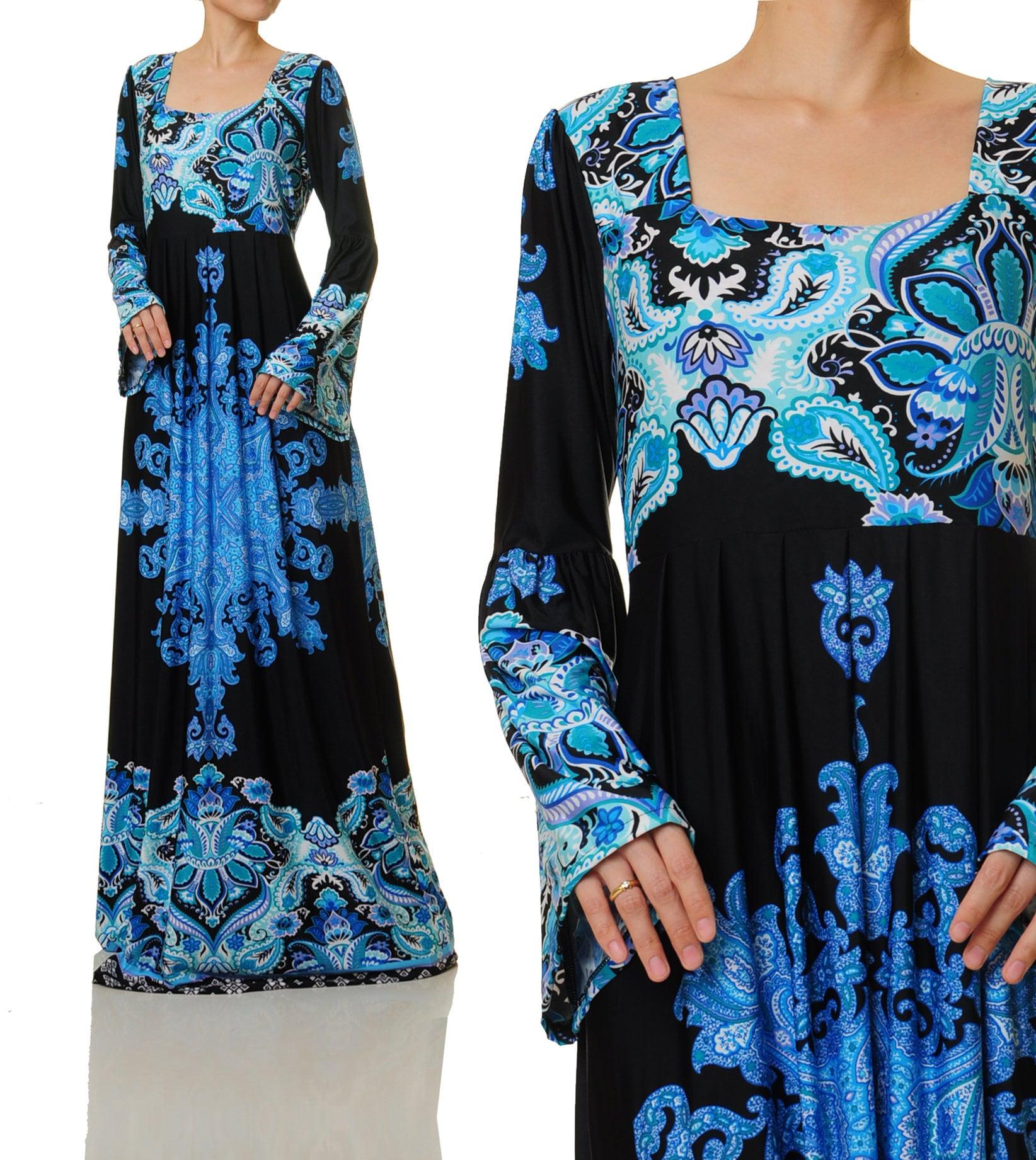 Long Sleeve Boho Maxi Dress Plus Size