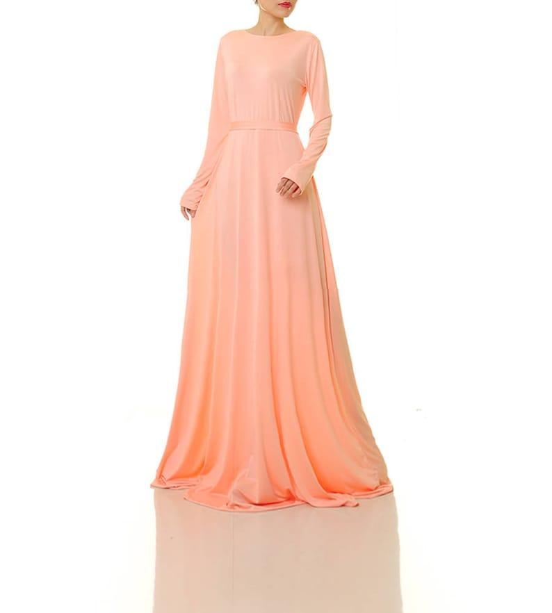 925e6c37bfbd Peach Maxi Dress Peach Bridesmaid Dress Long Blush Dress   Etsy