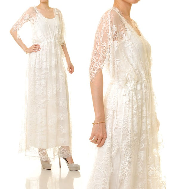 White Lace Dress Long Lace Cape Lace Overlay Dress White Wedding Lace Kimono Lace Dress Lace Cover Up Beach Boho Lace Dress 8193
