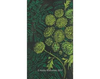 Green Chrysanthemum A4 Print