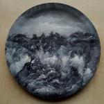 Det Som Engang Var  and White Painting on Wood Black Metal
