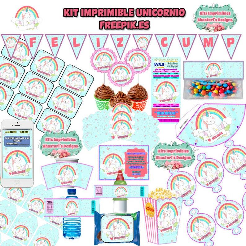 51aef645f Kit Imprimible Unicornio Freepik.es editable candy bar mesa | Etsy