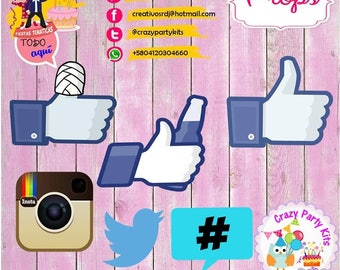 Social networking props Kit #Imprimible (#Accesorios) #DIY PhotoBooth