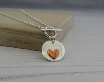 Silver necklace Heart necklace Copper heart Heart jewellery Mixed metal necklace Toggle necklace Silver pendant Silver jewellery Necklace