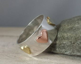 Silver heart ring, mixed metal heart ring, silver heart band, wide ring, mixed metal jewellery, sterling silver ring