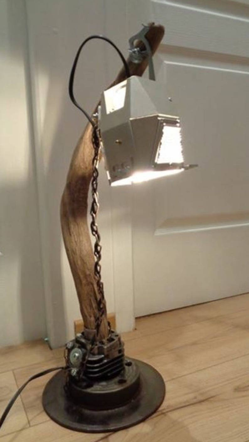 lamp drift wood and steel Backwoods club industrial lamp