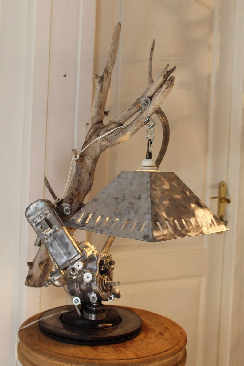Driftwood Alu Flottin By Recyclhome industrial lamp.