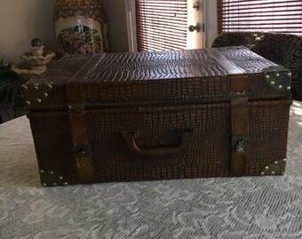 Alligator Embossed Suitcase