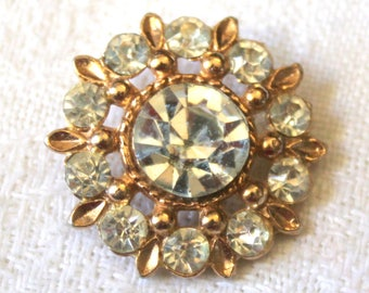 """Large 1960's Vintage Rhinestone Button - Gold Metal Setting - Lots of Bling - 1 & 1/8"""""""