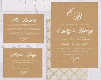 Personalised Printable Wedding Invitation Set; Invite, RSVP, Details Card, Emily - WC31