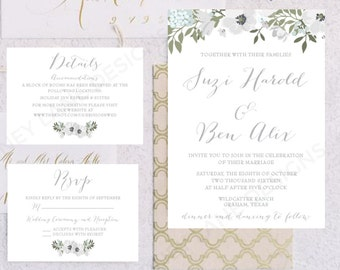 Personalised Printable Wedding Invitation Set; Invite, RSVP, Details Card, Suzi Collection - WC41