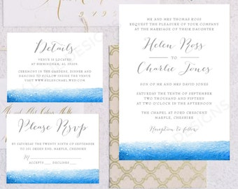 Personalised Printable Wedding Invitation Set; Invite, RSVP, Details Card, Helen Collection - WC11