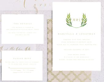 Personalised Printable Wedding Invitation Set; Invite, RSVP, Details Card, Marcella Collection