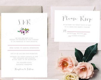 Personalised Printable Wedding Invitation Set; Invite, RSVP, Details Card, Rose Collection